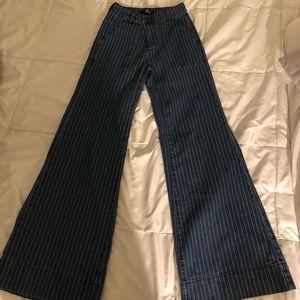 Striped vintage looking wide leg jeans